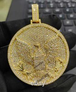 1.18 CT Round Sim Diamond Men's Flying Bird Pendant Free Stud 14K Yellow Gold FN
