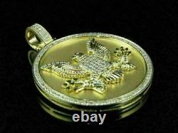 1.80 Ct Diamond 14k Yellow Gold Over American Eagle Medallion Charm Pendant