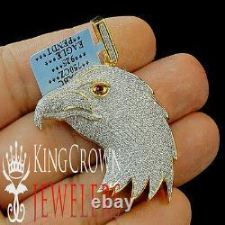 10K Yellow Gold Silver Lab Diamond American Eagle Bird Pendant Mens Pave Charm