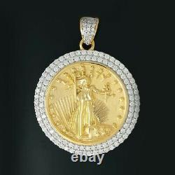 14K Solid Yellow Gold Over American Eagle Liberty Coin Diamond Mounting Pendant
