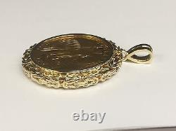 14K Yellow Gold BYZANTINE FRAME PENDANT for 1/2 OZ US American Eagle Coin