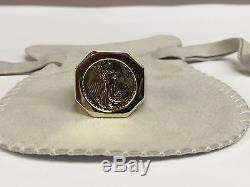 14K Yellow Gold Mens COIN RING with a 22K 1/10 OZ AMERICAN EAGLE COIN