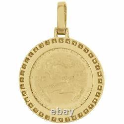 14K Yellow Gold Over American Eagle Liberty Coin Diamond Mounting Pendant