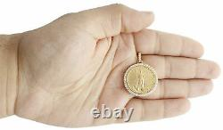 14K Yellow Gold Over American Eagle Liberty Coin Diamond Mounting Pendant 1.06CT