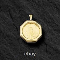 18K Yellow Gold Coin Pendant Mounting only for 1 OZ US American Eagle Coin