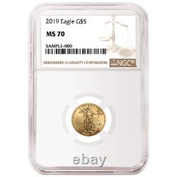 2019 $5 American Gold Eagle 1/10 oz. NGC MS70 Brown Label