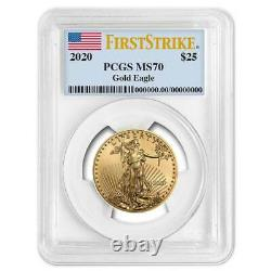 2020 $25 American Gold Eagle 1/2 oz. PCGS MS70 First Strike Flag Label