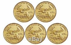 2020 $5 Gold American Eagle 1/10 oz. Brilliant Uncirculated Lot of 5