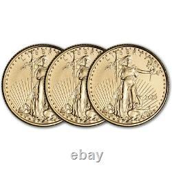 2020 American Gold Eagle 1/10 oz $5 BU Three 3 Coins