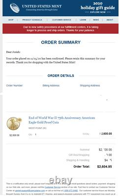 2020 End of World War II 75th Anniversary American Eagle Gold Proof Coin CONFIRM