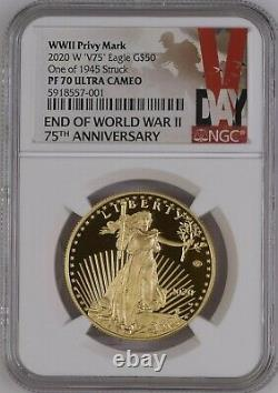 2020 PF70 END of WORLD WAR 2 75th ANNIVERSARY AMERICAN EAGLE GOLD PRF COIN 20XE