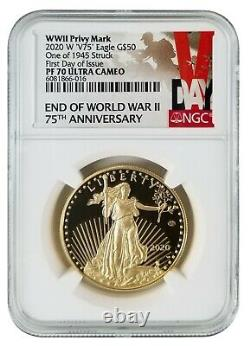 2020 W V75 Proof Gold Eagle NGC PF70 First Day of Issue Rarest Eagle Ever