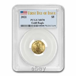 2021 1/10 oz American Gold Eagle MS-70 PCGS (First Day of Issue) SKU#221549