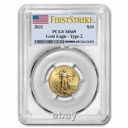 2021 1/4 oz American Gold Eagle MS-69 PCGS (FirstStrike, Type 2)