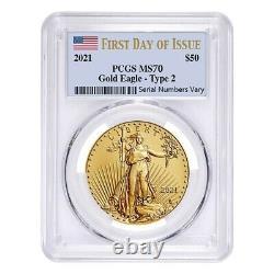 2021 1 oz Gold American Eagle Type 2 PCGS MS 70 FDOI