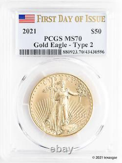 2021 $50 Gold American Eagle Type 2 PCGS MS70 First Day of Issue Flag Label