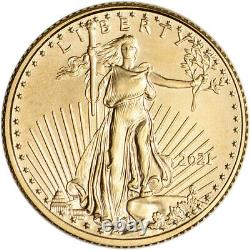 2021 American Gold Eagle 1/10 oz $5 1 Roll Fifty 50 BU Coins in Mint Tube