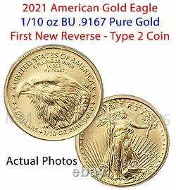 2021 American Gold Eagle 1/10 oz BU Coin Type 2 IN HAND