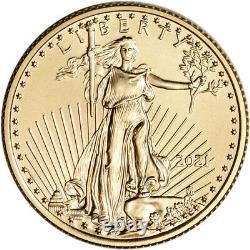 2021 American Gold Eagle 1/4 oz $10 BU coin in U. S. Mint Gift Box