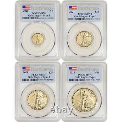 2021 American Gold Eagle 4-pc Year Set PCGS MS70 First Strike