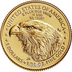 2021 American Gold Eagle Type 2 1/10 oz $5 1 Roll Fifty 50 BU Coins in Mint Tube