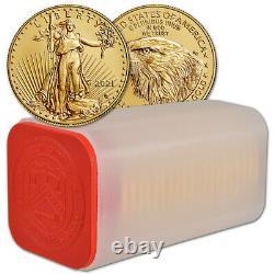 2021 American Gold Eagle Type 2 1 oz $50 1 Roll Twenty 20 BU Coins in Mint Tube