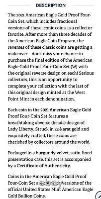 2021 Proof Gold Eagle Type 1 22k 4 Coin Fractional Set Last Year PREORDER