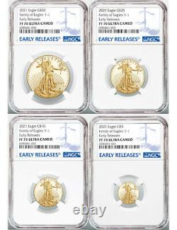 2021-W 4-Coin Set Proof Gold Eagles T-1 ER NGC PF70 Ultra Cameo No Reserve