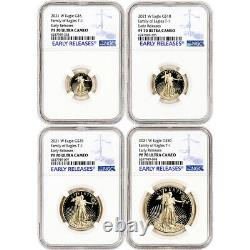 2021 W American Gold Eagle Proof 4-pc Year Set NGC PF70 UCAM Early Releases
