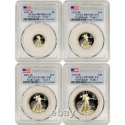 2021 W American Gold Eagle Proof 4-pc Year Set PCGS PR70 DCAM First Strike