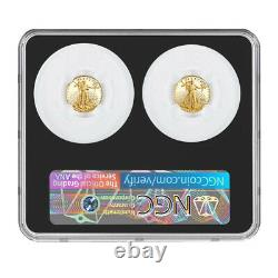 2021-W Proof T1 and T2 American Eagle 1/10 oz Gold Set Designer Edition NGC PR7