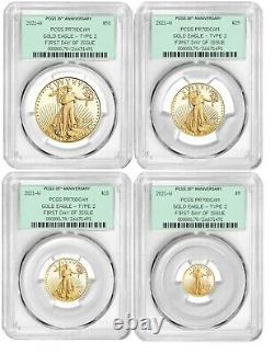2021-W Type 2 Gold Eagle 4 Coin Set PCGS PR70DCAM FDOI 35th Anniversary OGH