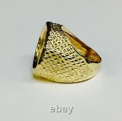 22K FINE GOLD 1/10 OZ AMERICAN EAGLE COIN in14k Solid Yellow gold 24MM Mens Ring