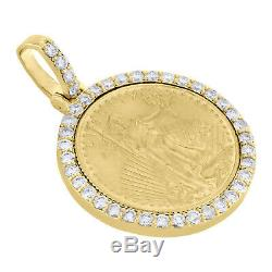 22K Gold American Eagle Liberty Coin 1/10th Oz. Diamond Mounting Pendant 0.63 CT