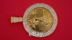 3 Cts White Diamond mounted on 24K American Eagle 1oz Gold Coin Pendant ASAAR