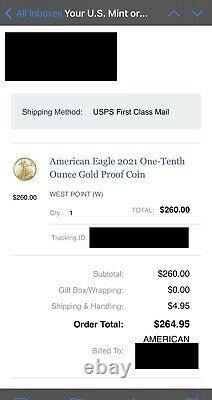 American Eagle 2021 One-Tenth Ounce Gold Proof Coin 21EE SHIPPED ORDER