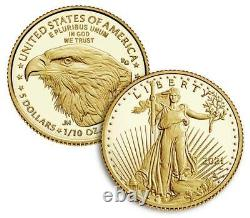 American Eagle 2021 One-Tenth Ounce Gold Two-Coin Set Designer Edition