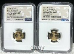 American Eagle 2021 One-Tenth Ounce Gold Two-Coin Set Designer Edition NGC PF 70