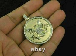 Christmas special Diamond 14k Yellow Gold Over American Eagle Medallion Pendant