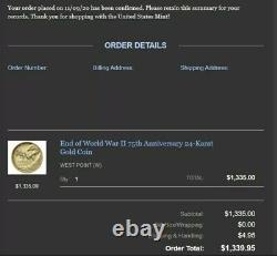 End of World War II 75th Anniversary 24-Karat Gold Eagle Coin CONFIRMED