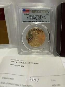 End of World War II 75th Anniversary American Eagle Gold Proof Coin PCGS PR70
