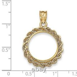 Genuine 14k Yellow Gold Rope Prong 1/10 oz American Eagle Coin Bezel