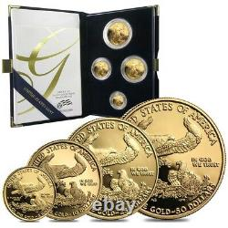 Gold 1.85 oz American Eagle Proof 4-Coin Set (Random Year, withBox & COA)