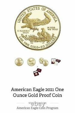IN HAND, SEALED! Last Design American Eagle 2021 One Ounce Gold Proof Coin 21EB
