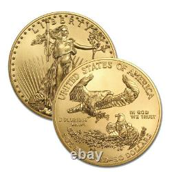 Lot of 2 Gold 2021 US 1 oz American Eagle $50 Gold Coins
