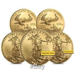 Lot of 5 1 oz Gold American Eagle $50 Coin BU (Random Year)