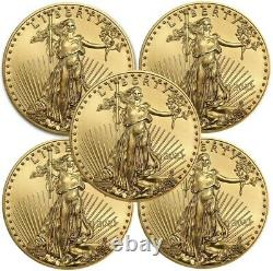 Lot of 5 2021 1/10 oz Gold American Eagle Coin BU IN STOCK