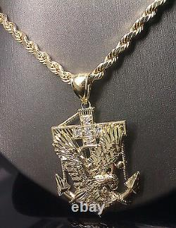 Men 10k Yellow Gold 26 Rope Chain 10k American Eagle Anchor Charm