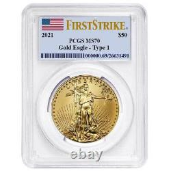 Presale 2021 $50 American Gold Eagle 1 oz. PCGS MS70 First Strike Flag Label