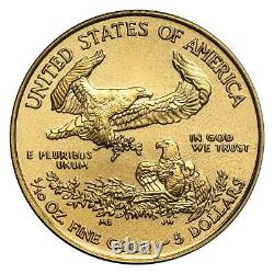 Random Year 1/10 oz Gold American Eagle $5 Coin Brilliant Uncirculated
